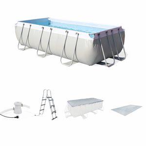 PISCINE Kit grande piscine tubulaire Topaze 8m² grise, pis
