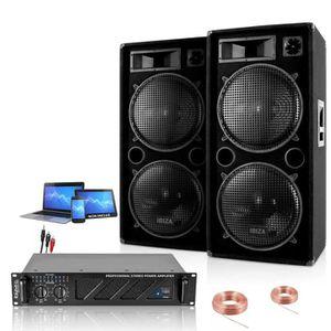 PACK SONO PACK SONO 2 ENCEINTES 2000W + 1 AMPLI 3000W + CÂBL