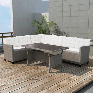 Luxueux Magnifique Moderne-Mobilier de jardin Salon de jardin 3 pcs avec  coussins Résine tressée Gris