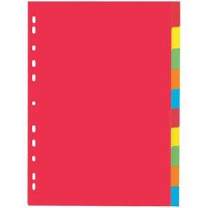 INTERCALAIRE Intercalaire carton, A4, à 10 touches, 5 couleurs
