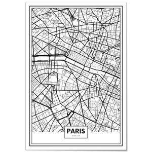 Panorama® Poster Carte de Paris 21 x 30 cm - Imprimée sur Poster de grande qualité - Poster Ville Noir et Blanc - Tableau Moderne