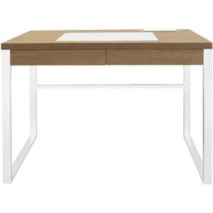 BUREAU  Bureau en bois et métal coloris blanc - Dim : 100