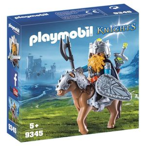 UNIVERS MINIATURE PLAYMOBIL 9345 - Knights - Combattant nain et pone