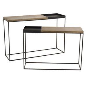 CONSOLE Duo de Consoles Métal noir/or - NIMEGUE - L 120 x