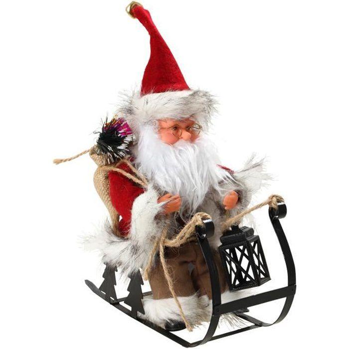 Personnage de Noël : Père Noël automate sur luge - H 25 x 24,5 x 10 cm - Rouge et blanc