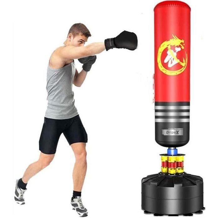 Sac de Frappe Adulte Sac de Boxe sur Pied Sac de Frappe Autoportant Punching Ball 175 cm- Rouge