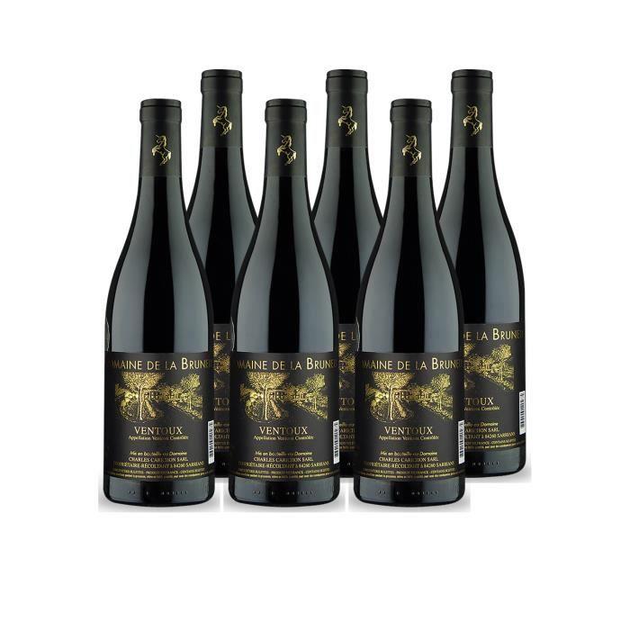 Ventoux Rouge 2018 - Lot de 6x75cl - Domaine Brunely - Vin AOC Rouge de la Vallée du Rhône - Cépages Grenache, Syrah, Carignan