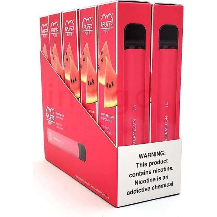 10 Pack Puff Plus 50mg Jetable Vape Fruit de Pastèque Favorisé 3.2ml Liquide de cigarette électronique Batterie 550mAh