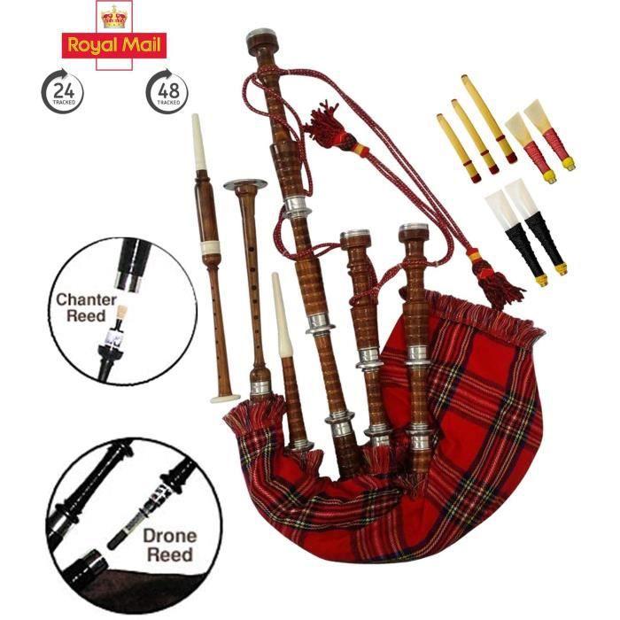 Instruments de musique à vent en bois Cornemuse écossaise Royal Steward Ensemble complet avec livre d'apprentissage à la 68997