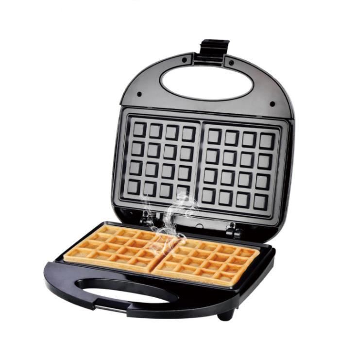 Gaufrier électrique - 750 W - Double chauffage - Plaques antiadhésives - Noir