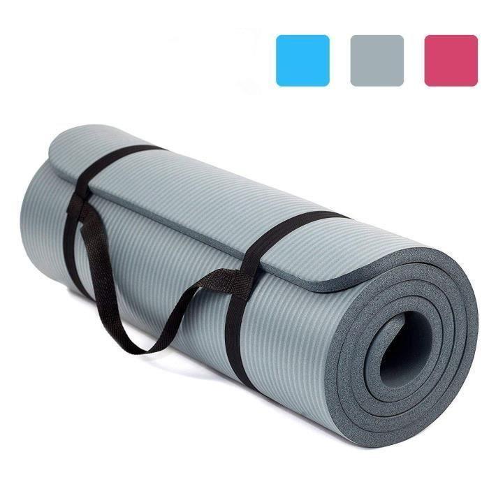 Tapis de Yoga et Fitness, Extra Epais 10 mm - 15 mm, 180 x 60 cm, Parfait pour des Exercices au Sol, Le Camping, Le Gym, Gris