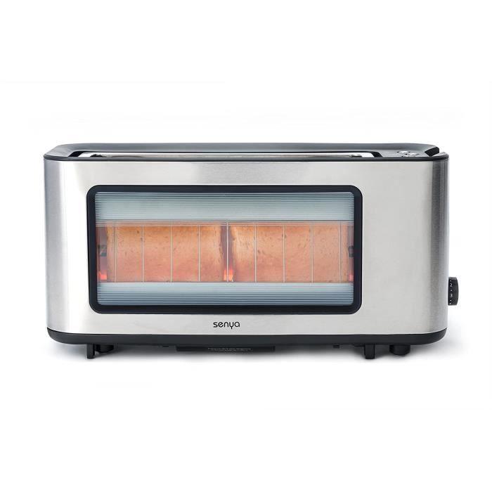 SYBF-T006S grille-pain Inox et verre Toast Perfect, longue fente extra large pour baguette, pince à toast