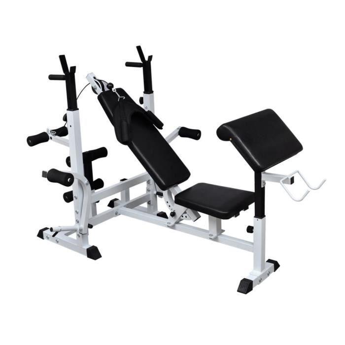 7022MAISON BEST•Banc de musculation Taille:180 x 126 x 103 - 123 cm