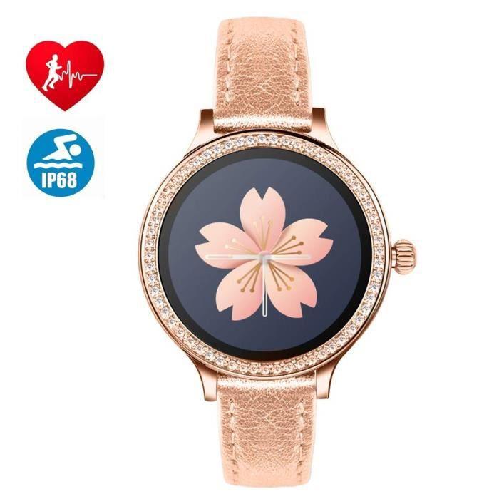 Montre Connectée, Bluetooth Smartwatch pour Femme, IP68 Imperméable, Moniteur de Fréquence Cardiaque, SMS, Rappel d'appel,Sports Mon