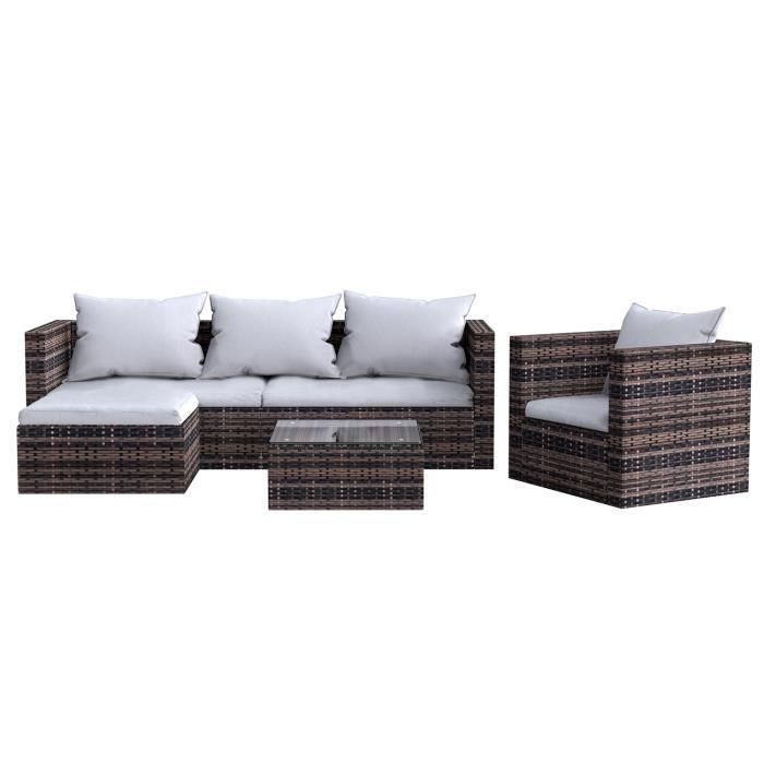 [Yezoos] Salon de jardin - Ensemble de 5 meubles de jardin en rotin, livré avec accoudoirs, coussins de dossier et verre