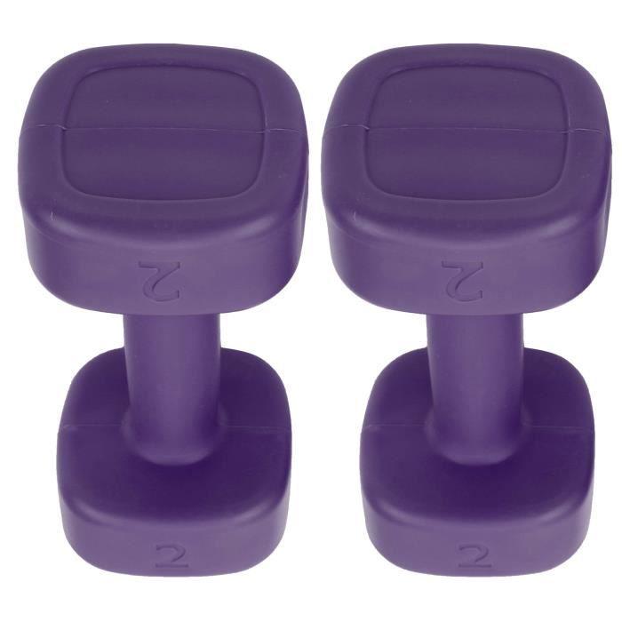 Cikonielf Petit haltère 2pcs Haltère 4lb Haltérophilie Fitness Équipement de Perte de Poids de Sport Yoga Musculation(Violet )