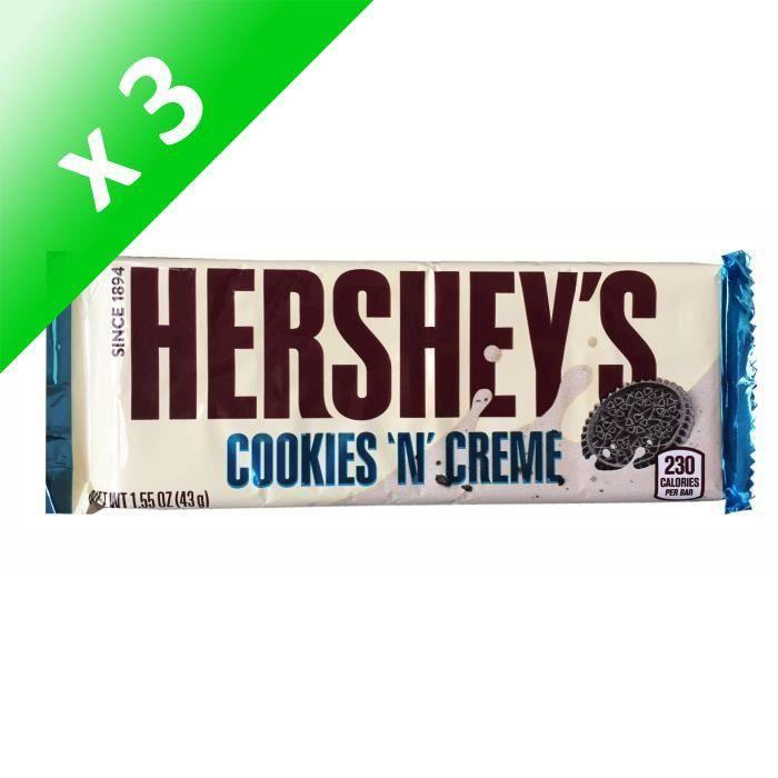 [LOT DE 3] HERSHEY'S Barre de Chocolat Cookies 'N' Creme - 43 g