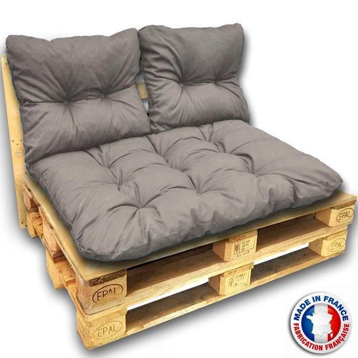 Kit coussins pour canape euro palettes 120x80 cm - épaisseur 17 (Kit complet 3 coussins - Gris antra)
