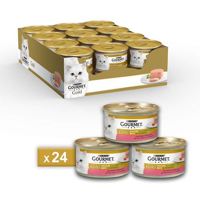 Gourmet 12138482 - COMMUTATEUR KVM - Gold Mousse pour Le Chat, avec Truite et adorables tomates, 85 g ? Lot de 24 pièces