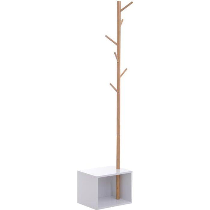 Meuble rangement porte-manteaux 2 en 1 design contemporain cosy dim. 40L x 30l x 180H cm MDF blanc bois massif bambou 40x30x180cm