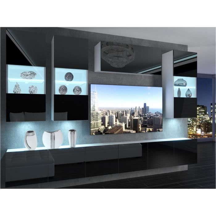 RAMONE - Ensemble meubles TV + LED - Unité murale - Largeur 300cm - Mur TV à suspendre - Noir Blanc