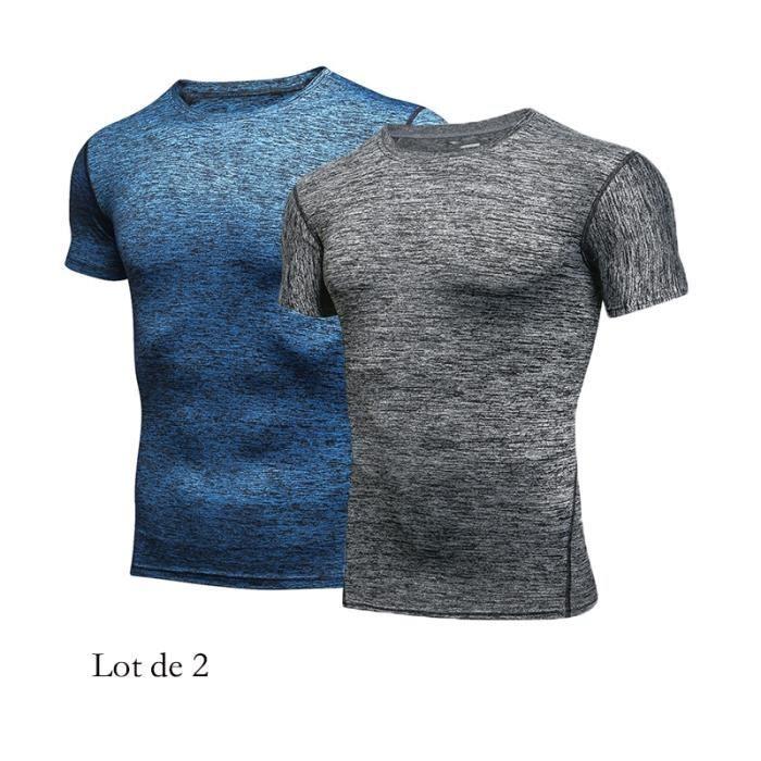 T-Shirt compression Serré Homme de Sport Manches Courte Top Pour Fitness Running Parkour