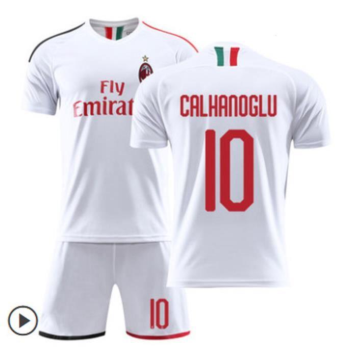CALHANOGLU NO.10 AC Milan 19-20 à domicile Jersey CA Maillot et Shorts de football Homme-Blanc