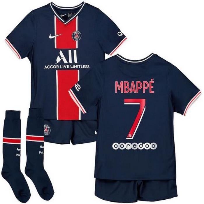 Mini-Kit Officiel Enfant Nike PSG Paris Saint-Germain Domicile Saison 2020-2021 Flocage Officiel Numéro 7 Mbappé