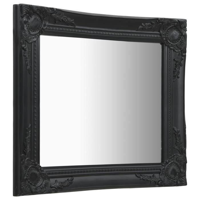BLL- Miroir mural style baroque Noir carré 50x50 cm / Bois et verre