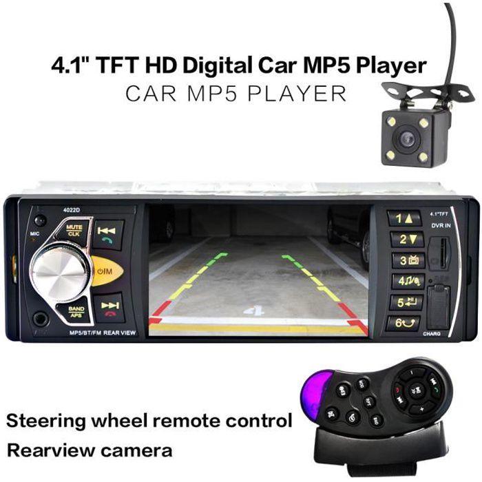 12V 4.1 '' HD TFT Bluetooth Car Stereo Auto Radio Voiture MP4 MP5 Player Autoradio avec caméra de recul Télécommande FM / SD / AUX