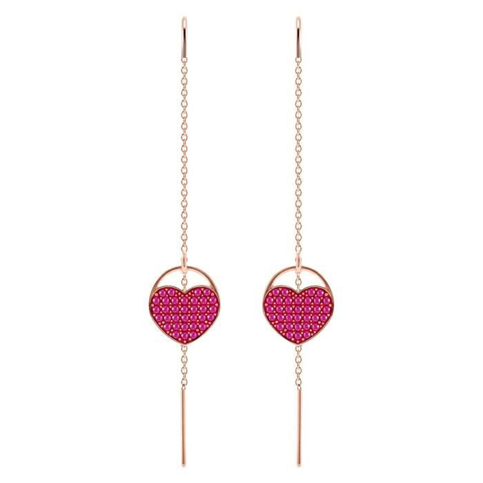 Boucles d'Oreilles femme - SWAROVSKI - Boucles d'oreilles Swarovski Ginger Heart rose - Couleur de la matière:Rose