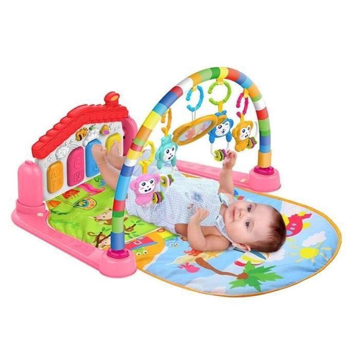 Tapis d'éveil musical avec arche et piano, couverture de jeu, tapis de jeu, tapis de jeu pour bébé,rose