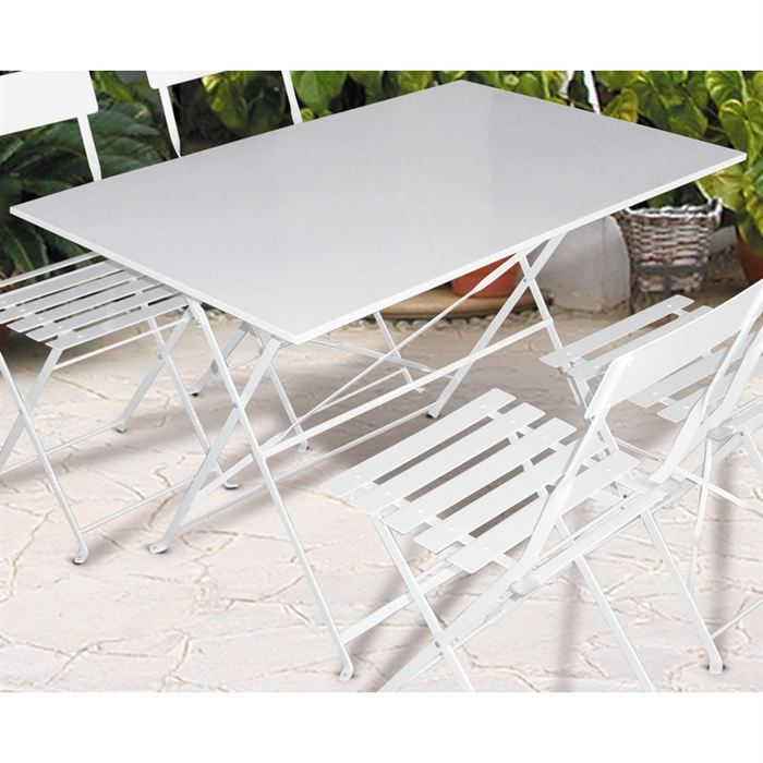 Table de jardin pliante metal Blanche 110x70cm - Achat ...