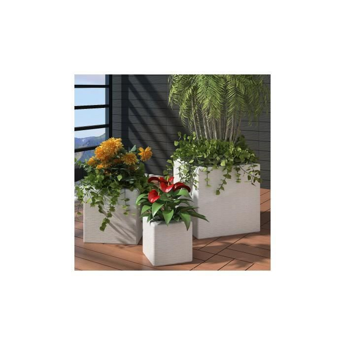 3 bacs pots de fleurs en rotin blanc achat vente jardini re pot fleur 3 bacs pots de. Black Bedroom Furniture Sets. Home Design Ideas