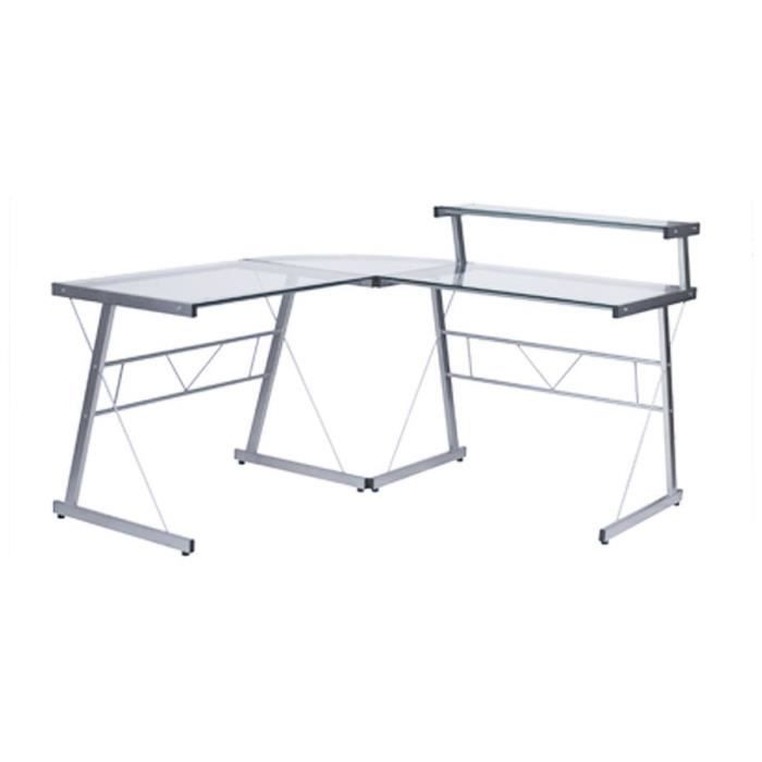 Bureau d 39 angle en verre transparent 39 job 39 design informatique a - Bureau d angle informatique ...
