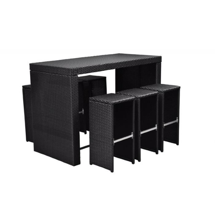 table haute noir avec 6 tabourets de jardin rotin r sine tress 2102005 achat vente salon de. Black Bedroom Furniture Sets. Home Design Ideas