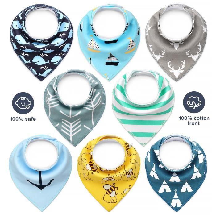/étui et sac cadeau Coton doux absorbant avec dos en polyester Boutons r/églables pour filles de 3 /à 24 mois Dodo Babies Lot de 4 bavoirs bandanas pour b/éb/é avec 2 attaches