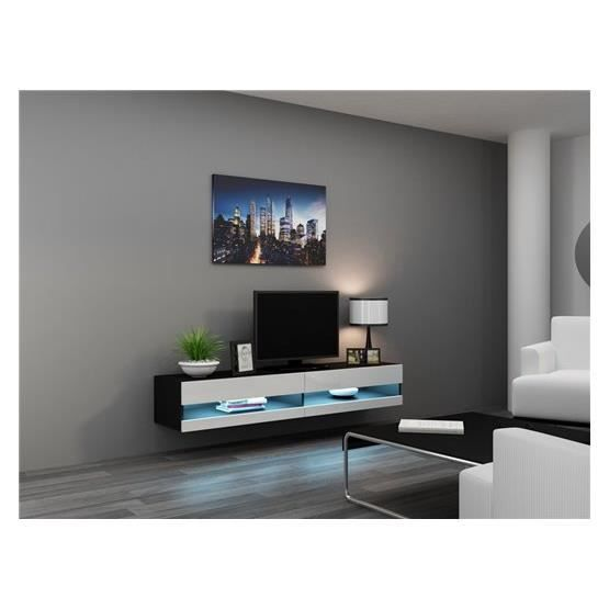 meuble tv design suspendu larmo new noir et blanc achat vente meuble tv meuble tv larmo nr. Black Bedroom Furniture Sets. Home Design Ideas
