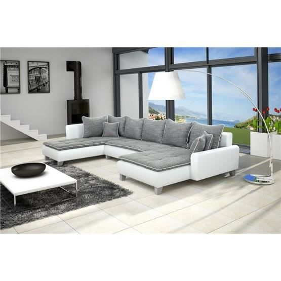 canap d 39 angle conv u nano gris blanc angle gauche achat vente canap sofa divan. Black Bedroom Furniture Sets. Home Design Ideas