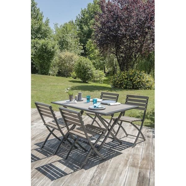 Ensemble de jardin en aluminium 4 places - Table pliable - Gris ...
