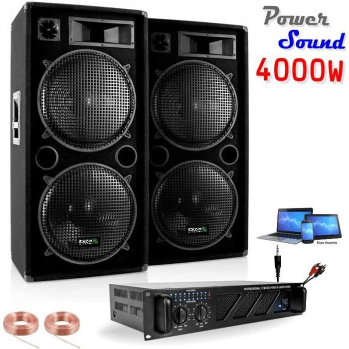 pack sono 2 enceintes 2000w 1 ampli 3000w c blage enceintes cable pc dj pack sono avis. Black Bedroom Furniture Sets. Home Design Ideas