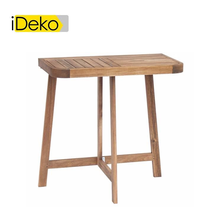 ideko demi table haute d 39 appoint pliante en acacia huil 2 places achat vente table de. Black Bedroom Furniture Sets. Home Design Ideas