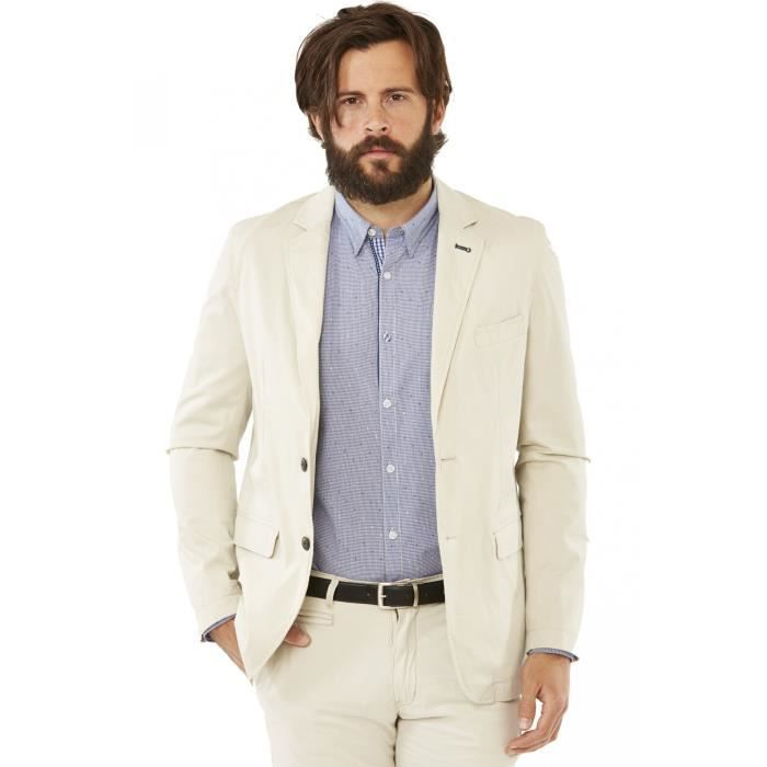 veste habill e pour homme de type blazer en coton de couleur beige sign e delahaye beige. Black Bedroom Furniture Sets. Home Design Ideas