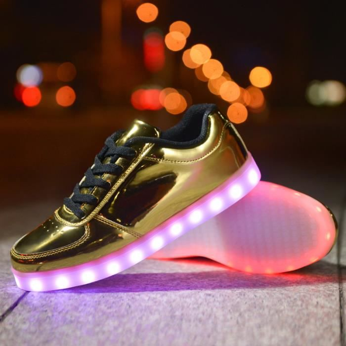 Calseosvic-Dore Homme Femme LED Lumière Lumineux Chaussures Baskets cool