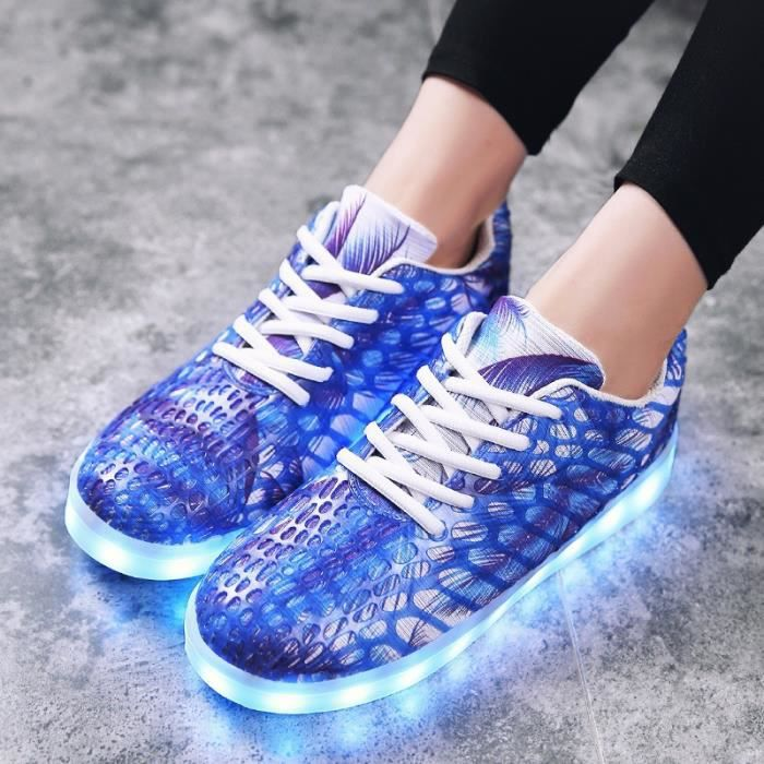 Unisexe LED adultes sport Chaussures Flats RUNNING Sneaker Light Up Chaussures respirantes