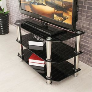 meuble tv en verre trempe achat vente meuble tv en verre trempe pas cher soldes d s le 10. Black Bedroom Furniture Sets. Home Design Ideas