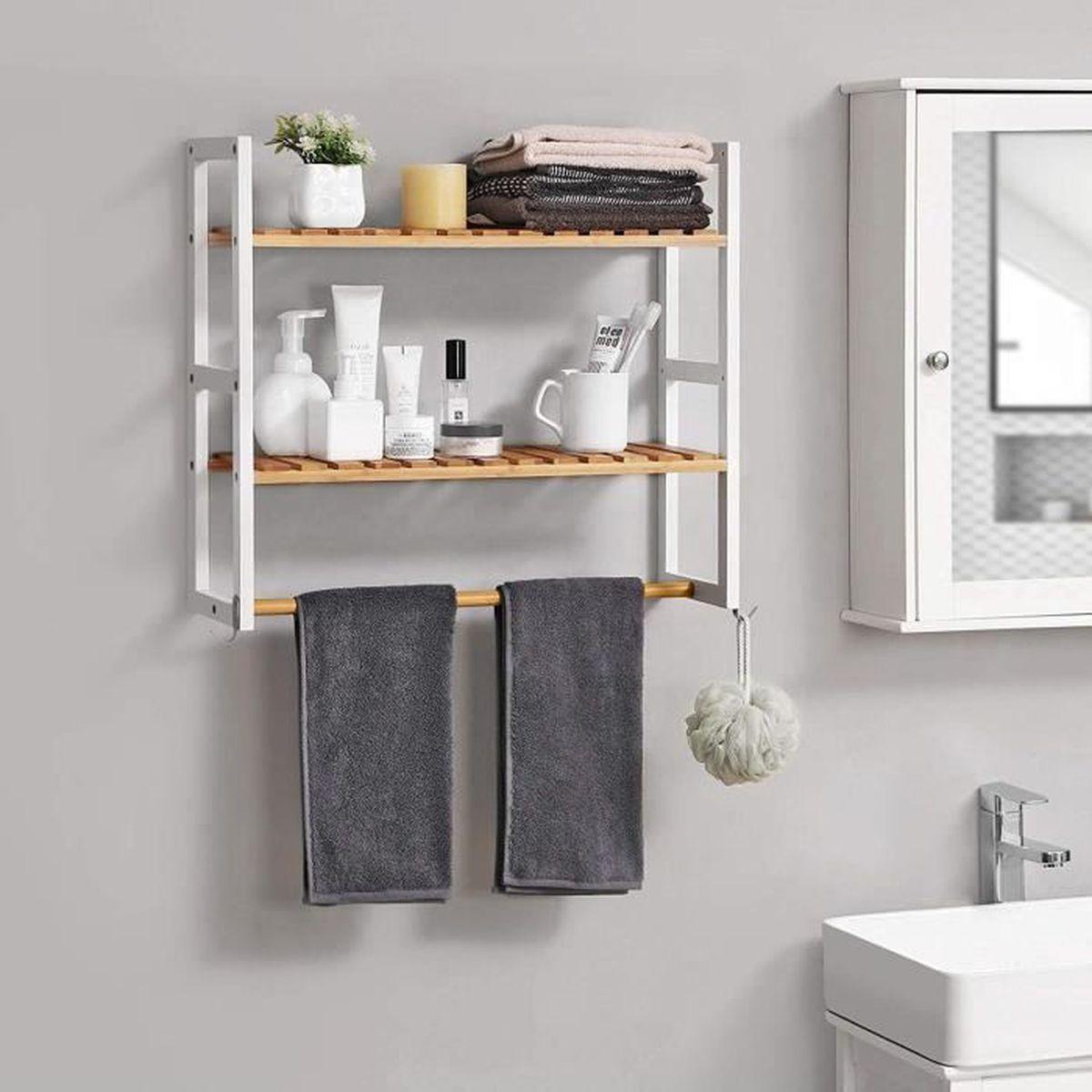 Etagere Salle De Bain A Poser songmics meuble Étagère en bambou avec porte-serviettes