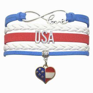 juillet 4th USA Drapeau Américain Patriotique Design Bracelet breloque Strass Hip Hop NOUS
