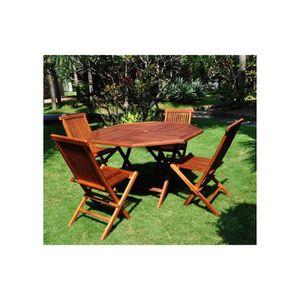 Magnifique salon de jardin teck massif 4/6 pers 4 chaises + ...