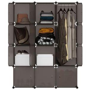 CASIER POUR MEUBLE LANGRIA 12 Cubes Armoires à Vêtement - Plastique -